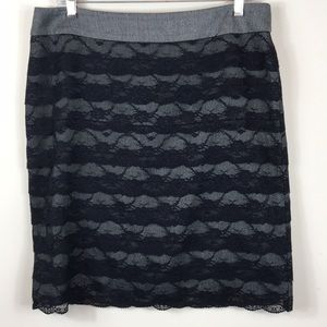 SHARAGON Pencil Skirt With Black Lace  Size 12